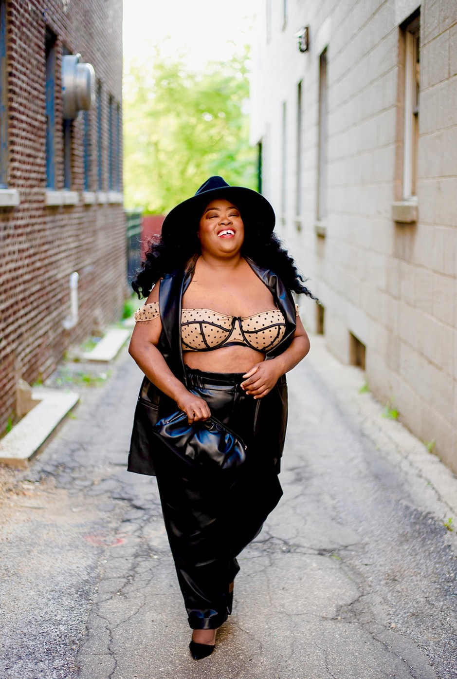 Plus-Size Fall Fashion: Leather & Lingerie, Eloquii