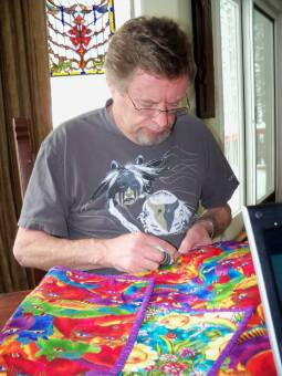 Stephen quilting the last quilt he made before he died.  It was for one of our staff members who was having a baby.  Miss you my friend.