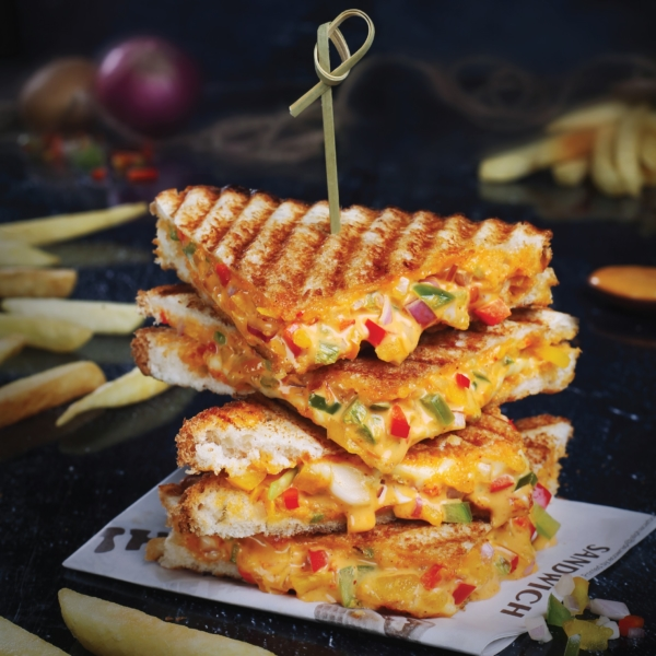 Veg Pizza Grilled Sandwich The Fat Guys