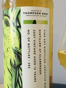 Clarendon 2007 Aged 12 Years Selected by Thompson Bros rum review by the fat rum pirate