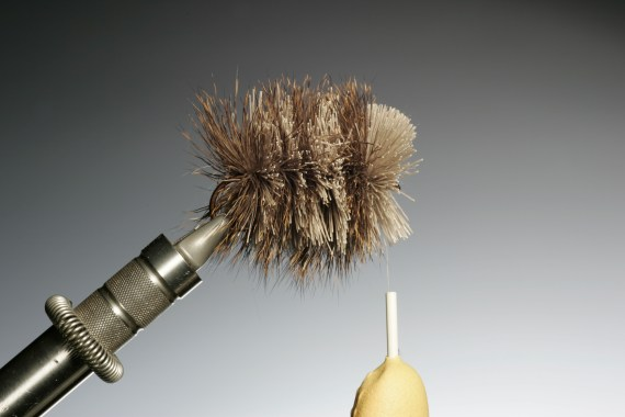 Once you have finished your fly the bobbin and finger tip are as shown.