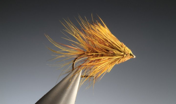 Golden olive bumble muddler tied by Barry Ord Clarke