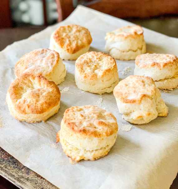 baking sheet of quick and easy homemade biscuits