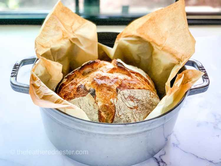 Sourdough bread in a Staub Cast Iron Pot