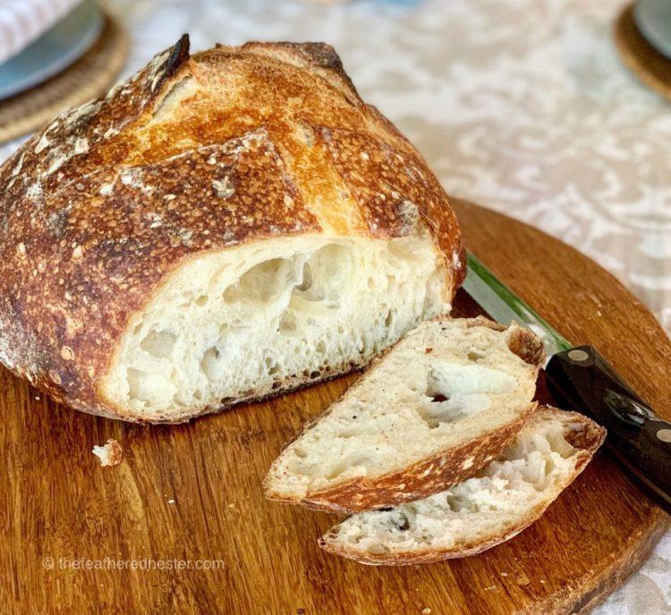 sliced sourdough bread from this  Sourdough bread recipe