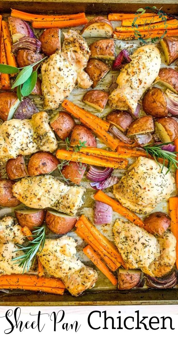 easy sheet pan dinner with chicken and veggies