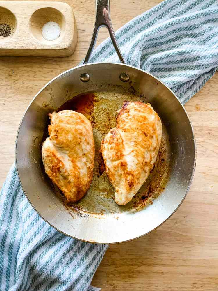 skillet of easy seared chicken breasts