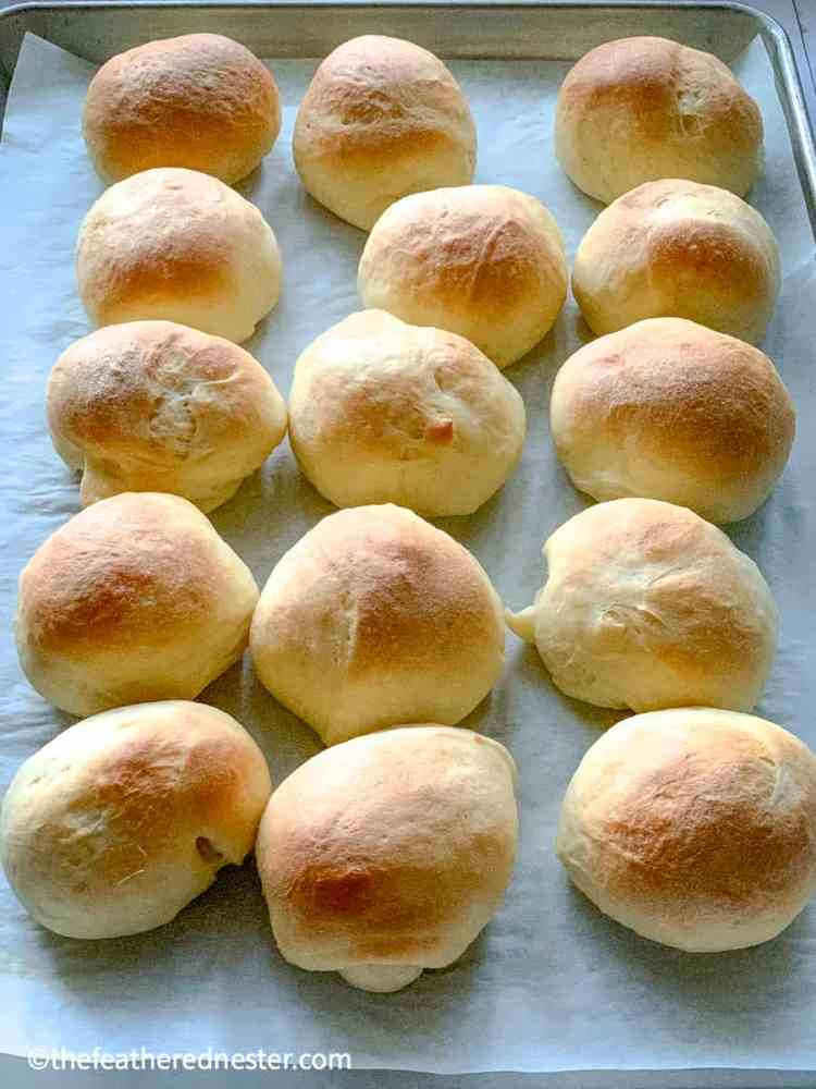 a close up of old fashioned dinner rolls