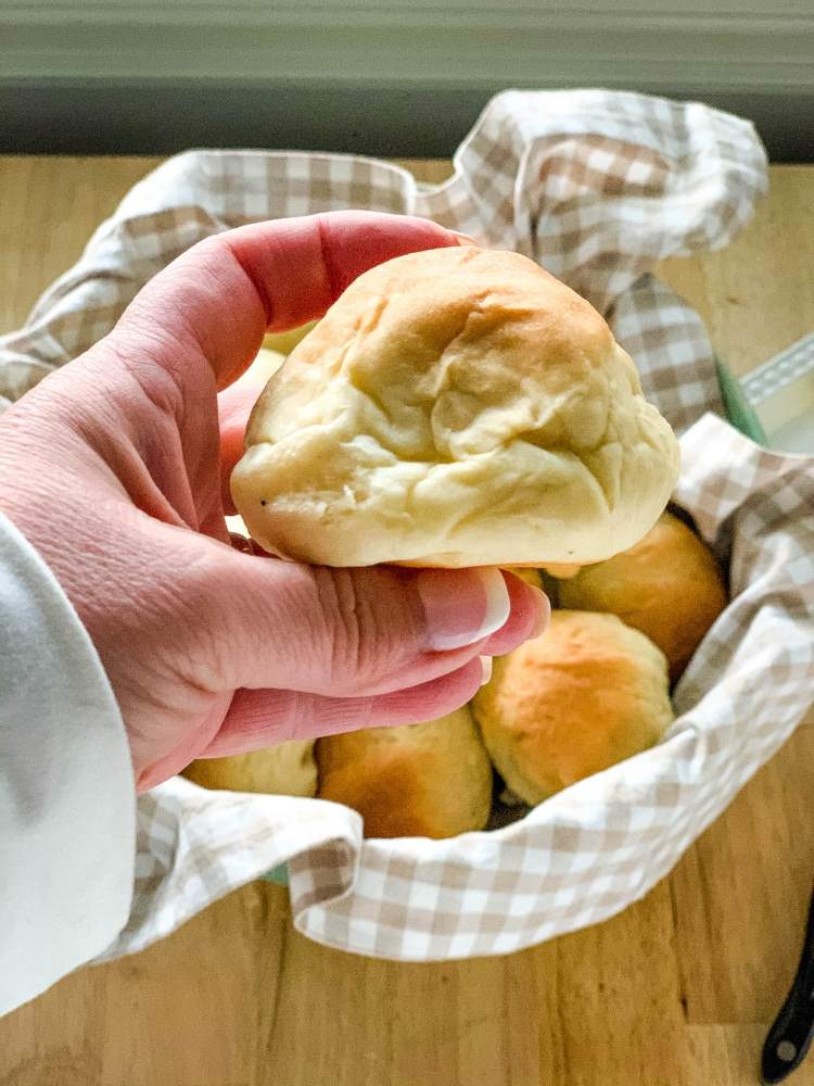 closeup of Old Fashioned Yeast Rolls