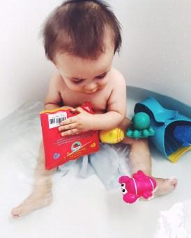 First big boy bath without his mini tub