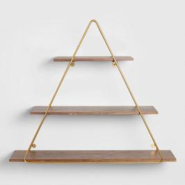 Wood And Gold Triangle Wall Shelf