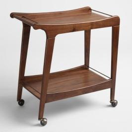 Walnut Mid Century Bar Cart
