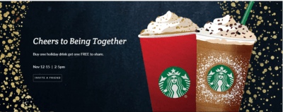 Starbucks Bogo Holiday Drinks (ends today)