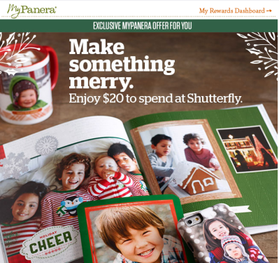 MyPanera email – Enjoy $20 to spend at Shutterfly