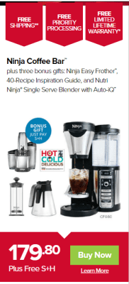 Best deal for the Ninja Coffee Bar with bonus gift all for $179.80 + S.H.