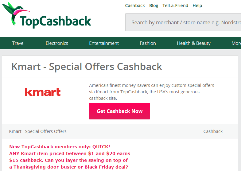 Kmart through TopCashBack buy ($1 & $20) and get $15 cashback