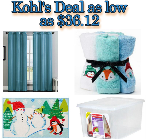 Kohls Home Buys as low as $36.12 from $164.92