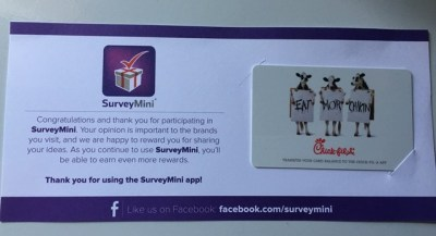Survey Mini App (How I got Free $10 Chick Fil A Gift Card)