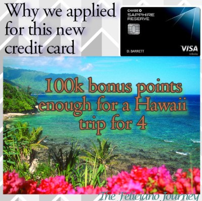 Chase Sapphire Reserve benefits and why we applied for it…
