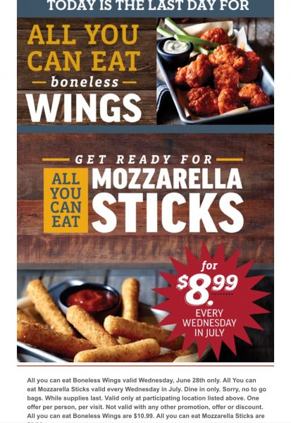 Applebees – All you can eat boneless wings $10.99 (today only)