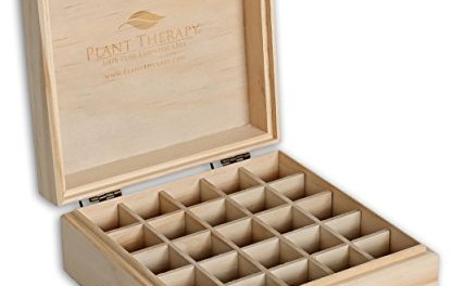 Plant Therapy Wooden Essential Oil Box – Holds 25 Bottles Size 5-15 mL
