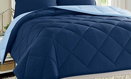 Dayton 3-Piece Reversible Comforter Set Down Alternative Solid Quilted Bed Cover (Twin, Navy & Blue)