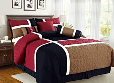Empire Home Over-Stock Special Patchwork 7 Piece comforter set Oversized – On Sale Till End of Month ONLY (Queen Size, Burgundy & Black)