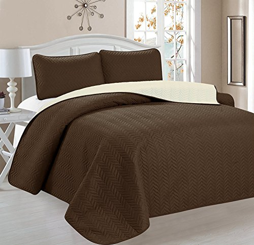 Deluxe Chevron Design Reversible 3pc Coverlet Quilt Set BedSpread – FULL/QUEEN Size – Coffee / Tan