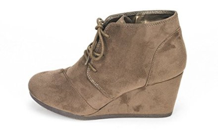 DREAM PAIRS TOMSON Women's Casual Fashion Outdoor Lace Up Low Wedge Heel Booties Shoes   k…