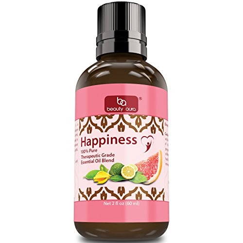 Beauty Aura Happiness Essential Oil Blend (2 Oz.)- Therapeutic Grade- …