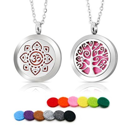 2PCS Aromatherapy Essential Oil Diffuser Necklace Stainless Steel Pend…