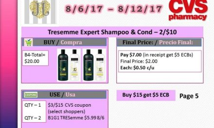 CVS: Tresemme Shampoo/Cond as low as $0.50 each (starting 8/6/17)