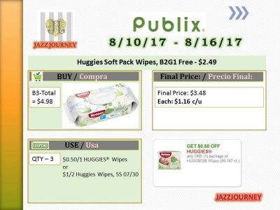 Publix: Huggies Wipes (upcoming ad 8/10) as low as $1.16