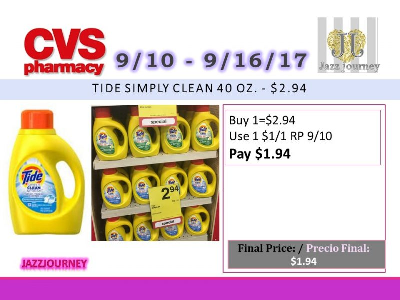 CVS: Tide (as low as $1.94) Starting 9/10/17