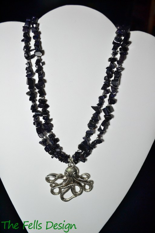 The Kraken - blue goldstone gemstone multi-strand necklace with octopus charm