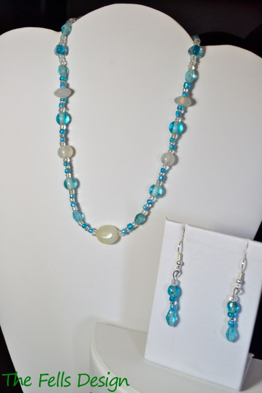 Blue Glass beaded necklace and earrings