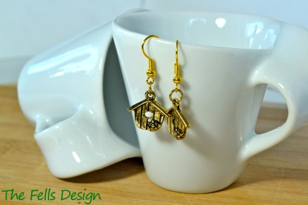 Birdhouse gold charm earrings