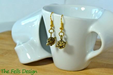 Sunflower gold charm earrings