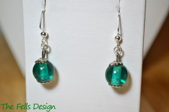 Repurposed aqua glass charm beaded earrings