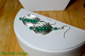 Silver leaf charm earrings with green Czech glass crystal cut beads