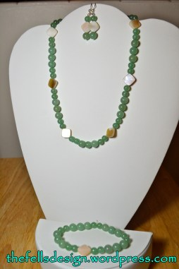 Necklace, Bracelet, and Earrings made from Jade and Mother of Pearl