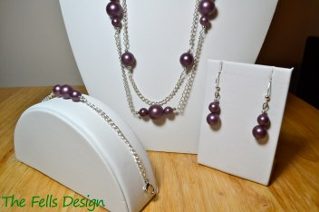 Repurposed metallic purple costume jewelry necklace, bracelet, and earrings jewelry set