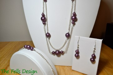 Metallic purple beads on multi-strand silver chain necklace set