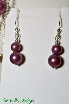 Matte metallic purple beaded earrings