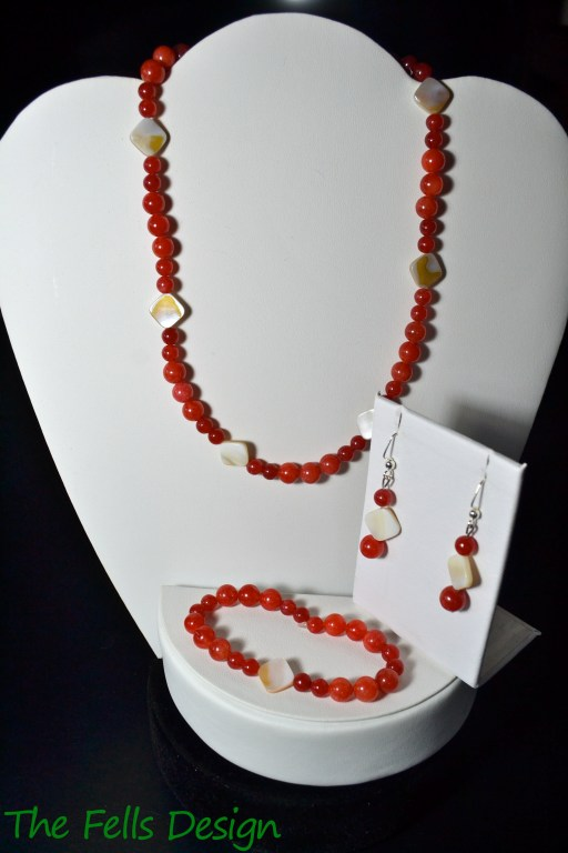 Red Jade and Mother of Pearl necklace, bracelet, and earrings