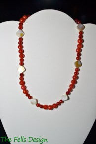 Red Jade and Mother of Pearl Necklace