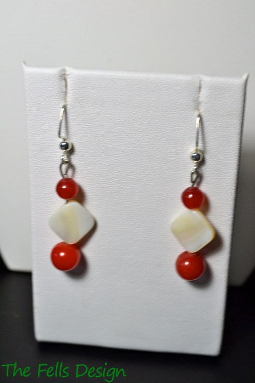Red jade and mother of pearl beaded earrings