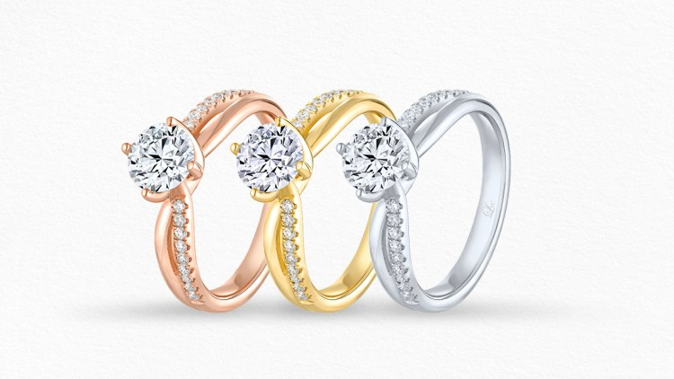 Love & Co.'s wedding band material in rose gold, yellow gold, and white gold.