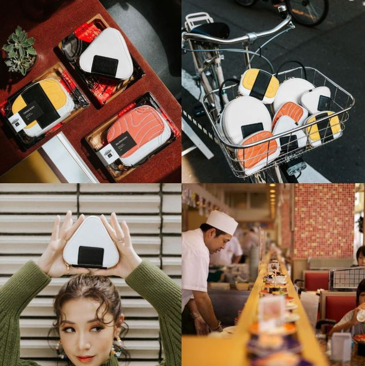 Local fashion and beauty blogger Christabel Chua sushi-inspired accessories and bags - sashimi, tamago, onigiri