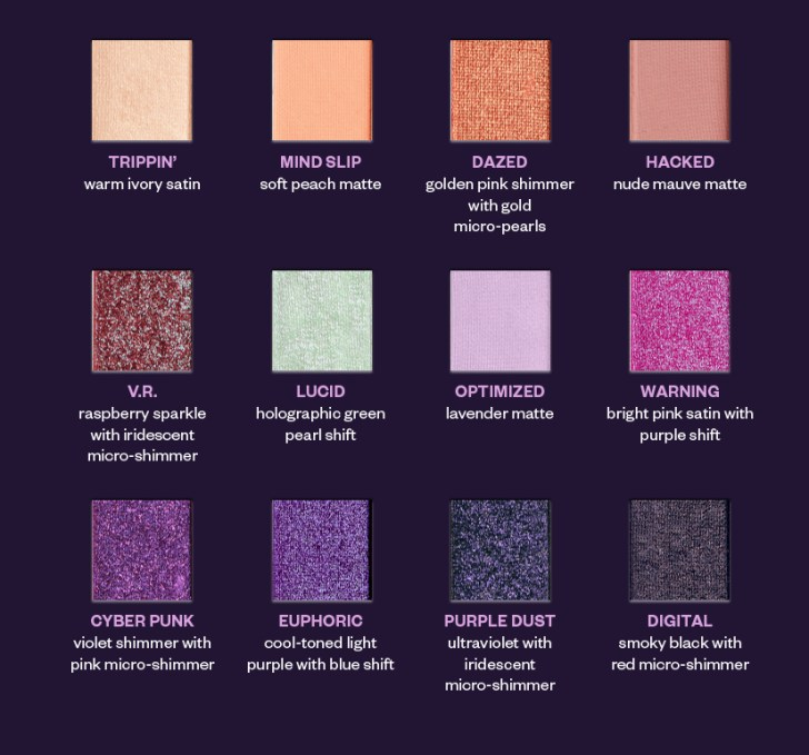 The 12 shades of the Urban Decay Naked Ultraviolet Eyeshadow Palette.